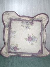 Shabby Chic � Purple Floral  Quilted Pillow
