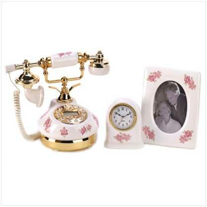 Girly Pink Roses Telephone Desktop Set