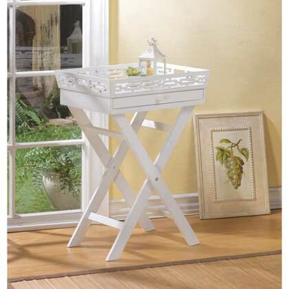 White Distressed Tray Table