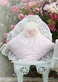 Pink Romance Embroidered Roses Square Pillow