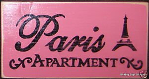 Pink Paris Apartment Wall Sign