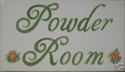 Powder Room Shabby Wall Sign